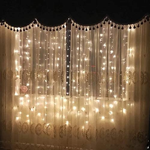 OMG LED Window Curtain String Light, 300LEDS,8Modes Controller Twinkle 9.89.8FT,Wedding Party Home Garden Bedroom Outdoor Indoor Wall Decorations. Warm White