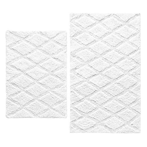 - Vera Wang Tufted Diamond Bath Rug Set, 2 Piece, White