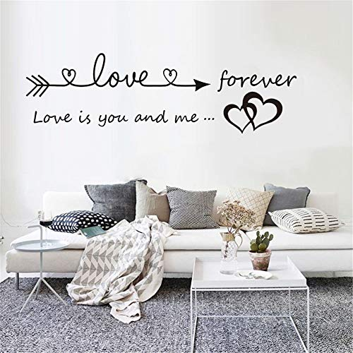 Quaanti Love is You and Me Words Love Heart Home Bedroom Decor Wall Sticker Friend Student Gifts School Office Mural (Black) by Quaanti (Image #3)