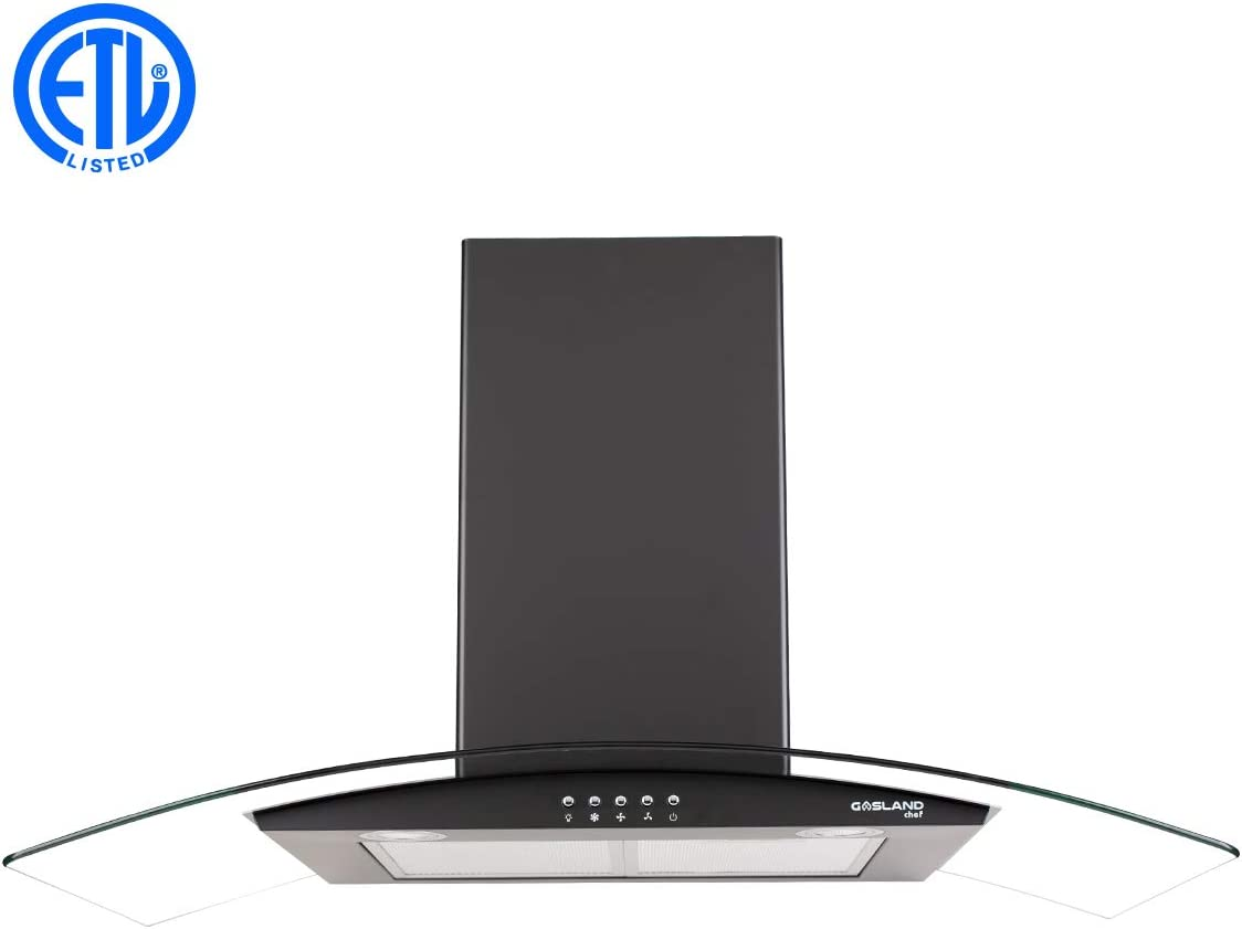 """36"""" Range Hood, GASLAND Chef GR36BP Curved Glass Wall Mount Range Hood Black, 3 Speed 450 CFM Ducted Kitchen Hood with LED Lights, Push Button Control, Convertible Chimney, Aluminum Filter"""