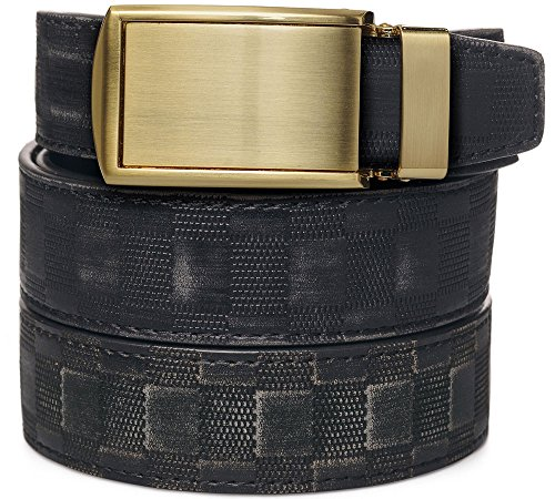 SlideBelts Men's Animal-Friendly Leather Belt without Holes - Brushed Gold Buckle / Distressed Black Checkered Leather (Trim-to-fit: Up to 48