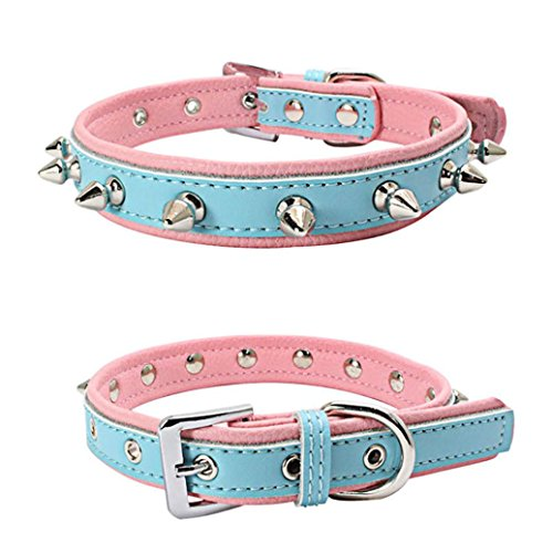 Voberry Pet Puppy Dog Cat Leather Collar Bling Crystal Heart Choker Necklace Collar (S, Light blue 1)