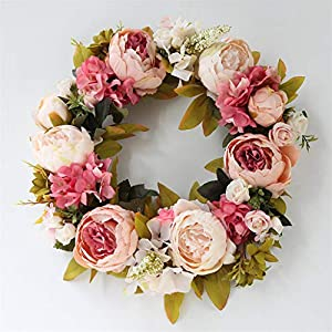 LYFWL Christmas Wreath Raw Silk Peony Simulation Wreaths Decorated Door Knocker Decorative Flowers Artificial Flowers Silk Flower Festivals Deep Pink Wedding Wreath 89