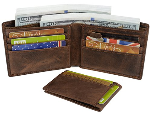 YALUXE Crazy Leather Bifold Wallet