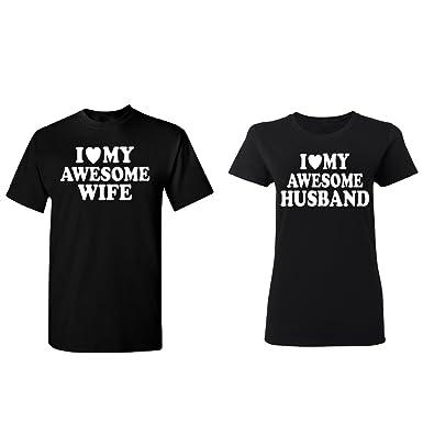 3eeb568b16 Awesome Wife Husband Couple Matching T-shirt Set Valentine's Day BEA Gift  Men Black Large