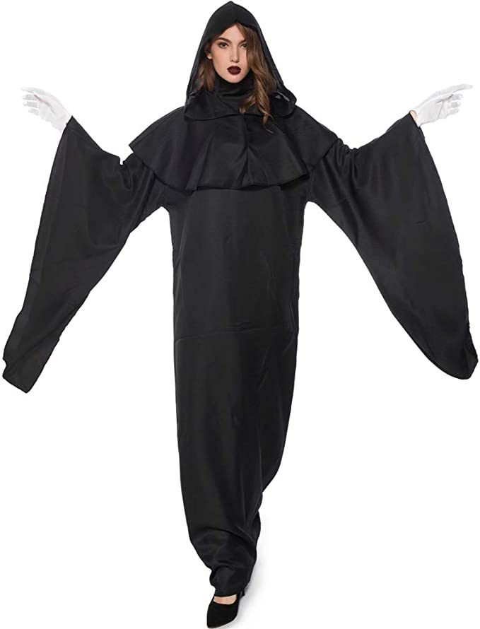 Disfraz de Halloween Adulto Muerte Cosplay Capa Negra Miedo Bruja ...