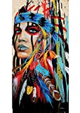 GOUPSKY Native American Painting indians canvas Feathered Headdress Women Girl for Hallway Living Room Colorful Watercolor Framed Pictures 12x18inchx3pcs