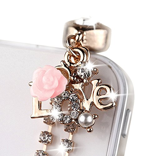ip570b-3 Cute Crystal LOVE Pink ROSE Anti Dust Plug Cover Charm for iPhone Android ear jack 3.5mm (Gold Dust Charm)