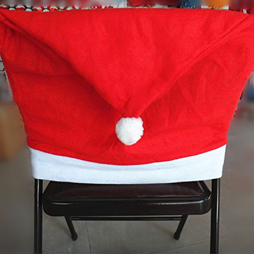 Chair Xmas Cap,BeautyVan 1pcs Santa Red Hat Chair Covers Christmas Decorations Dinner Chair Xmas Cap Sets