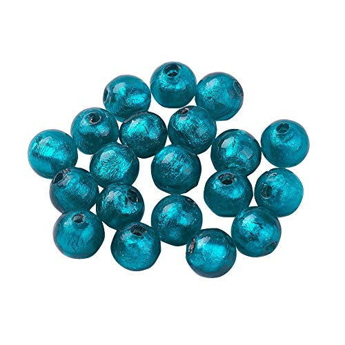 (PandaHall 10pcs Silver Foil Lampwork Beads Darkcyan Round Beads for Jewelry Making, 9.5~10mm, Hole: 1.5~2mm)
