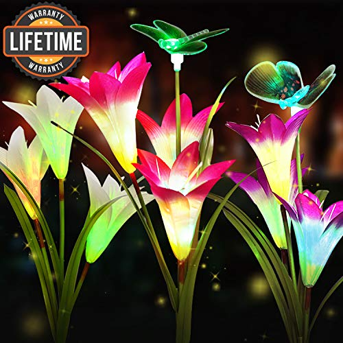 3-Pack Solar Flower Lights Outdoor,Solar Garden Decorative Lights,Solar Powered Garden Lights Outdoor Multi-Color Changing Lily Solar Flower Lights for Patio,Yard Decoration(Pink,White,Purple) (Garden Decorative Lights)