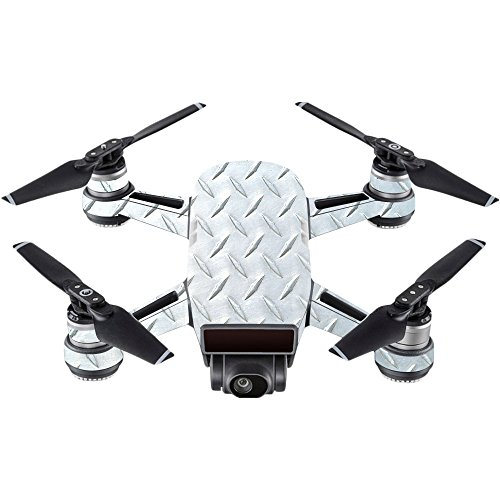 Vinyl Usa Shed - MightySkins Skin For DJI Spark Mini - Diamond Plate | Protective, Durable, and Unique Vinyl Decal wrap cover | Easy To Apply, Remove, and Change Styles | Made in the USA