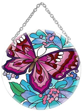 Butterfly Floral Stained Glass Suncatcher (Floral Stained Glass Suncatcher)