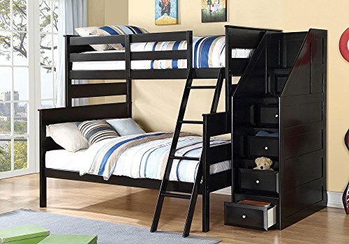 1perfectchoice-alvis-youth-kid-bedroom-twin-over-full-bunk-bed-staircase-storage-ladder-black