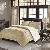 Premier Comfort Jackson Corduroy Reverse to Berber Comforter Mini Set, King/California King, Tan