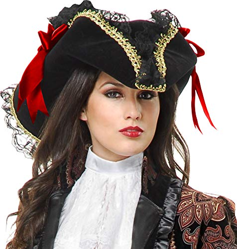 Deluxe Red and Gold Velvet Adult Costume Pirate Hat with Ribbon