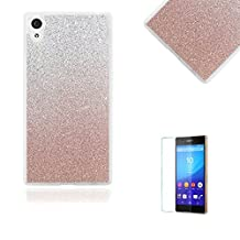Sony Xperia Z5 Case [with Free Screen Protector].Funyye Clear Soft Ultra Thin Gel Silicone Shock Proof Durable Scratch Resistant Jelly Rubber TPU Glitter Rose Gold Gradual Colour Changing Protective Case Cover Skin Shell for Sony Xperia Z5