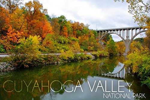 Cuyahoga Valley National Park, Ohio - Fall Foliage and Bridge (12x18 Art Print, Wall Decor Travel Poster)
