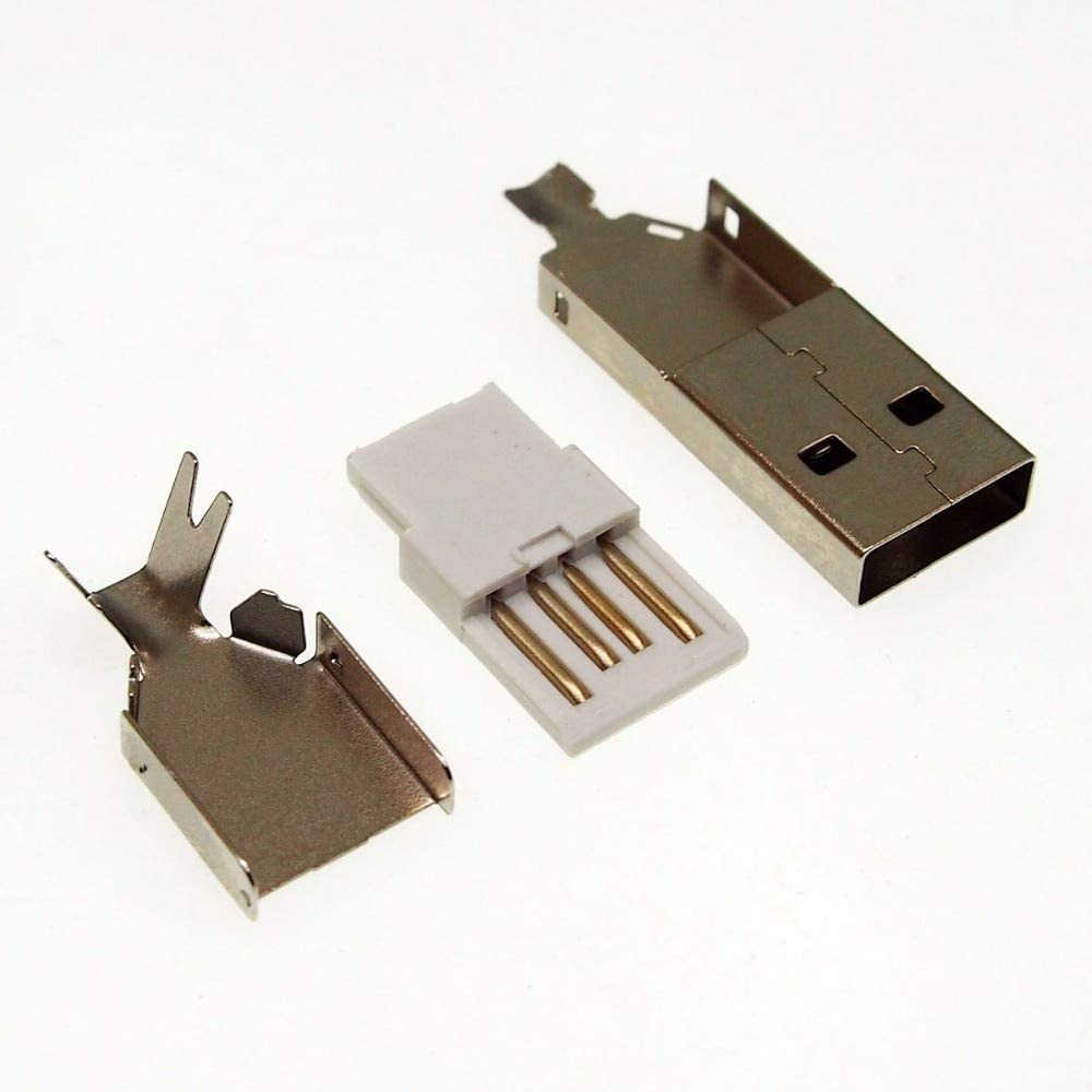 30set 3 in 1 DIY USB male plug socket A type DIY Soldering wire 2.0 usb connector Lysee Data Cables