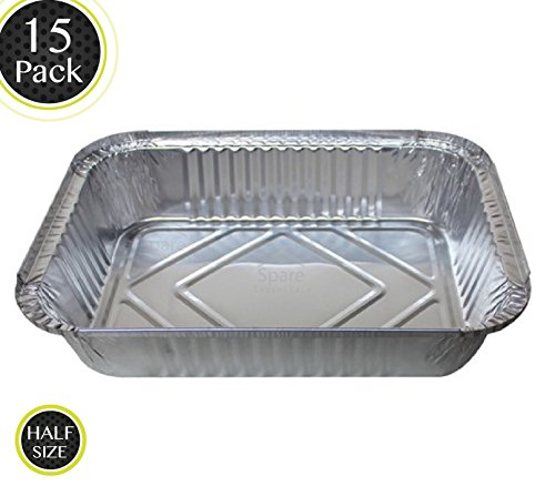 15 Pack - Durable Chafing Pans, Half Size Roasting Pans - Disposable Aluminum Foil Steam Table Deep Pans, Buffet Pans Size - 10