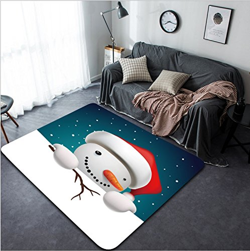 Vanfan Design Home Decorative 337362113 Cute funny snowman holding white page greeting Christmas card vector illustration Modern Non-Slip Doormats Carpet for Living Dining Room Bedroom Hallway (Bienvenidos Turtle)