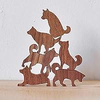 Wooden Shiba Dog Stack Set #1 (Pink Label, 6 Kittens)