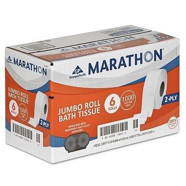 Marathon - Bath Tissue, 2-Ply, Jumbo Roll, 1,000 Ft. Rolls -6 Rolls.. Product ID: 731631094198