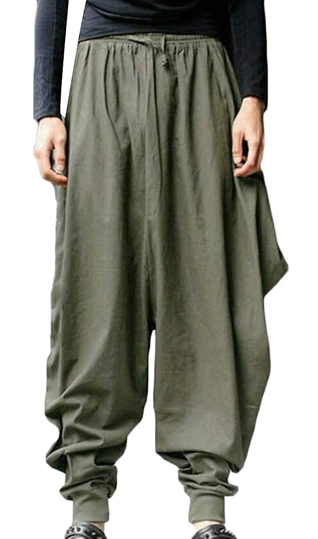 Fubotevic Mens Casual Jogger Pants Baggy Solid Color Elastic Waisted Harem Pants Trousers