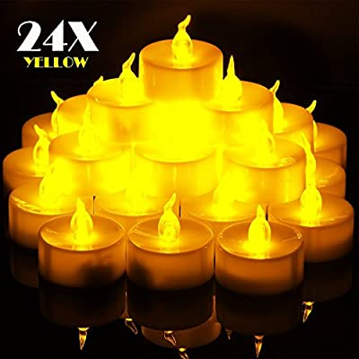 OMGAI 24 PCS Battery-Powered Small Flickering Flameless Tea light Candles