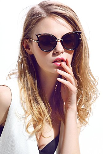 Women Cat Eye Cateye SunglassesShadesRetro Vintage Classic Oversized Novelty Glasses Eyewear EyeglassesUV400 UV Protection (Leopard frame brown lens, - Aviators Rayban Fake