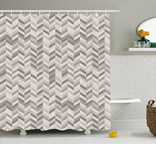 Lunarable Chevron Shower Curtain by, Monochrome Stripes Three Dimensional Pattern Geometric Chevron Design Abstract, Fabric Bathroom Decor Set with Hooks, 84 Inches Extra Long, Grey (3 Stripe Shower Curtain)