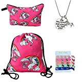 Unicorn Gifts for Girls - Unicorn Drawstring Backpack/Makeup Bag/Inspirational Necklace/Hair Ties (Pink Cute Unicorns)