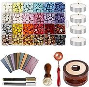 Decdeal Kit de carimbos de cera para selo de cera e letras, 600 peças de contas de cera de vedação com 24 core
