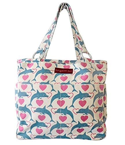 Dolphin Purse - Bungalow360 Vegan Cotton Canvas Pocket Tote Bag - Dolphin