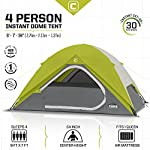 CORE Equipment 4 Person Instant Dome Tent - 9' x 7', Green 12 Instant 30 second setup; sleeps 4 people; fits one queen air mattress; center height: 54 Core H20 block technology and adjustable ground vent Features gear loft with lantern hook and pockets to keep items organized and off the tent floor