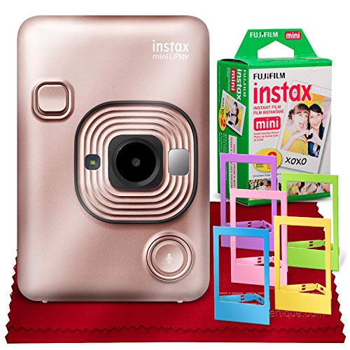 Fujifilm INSTAX Hybrid Mini LIPLAY (Blush Gold) + Fujifilm Instax Mini Instant Film (20 Sheets) + Accessory Bundle (USA Warranty)