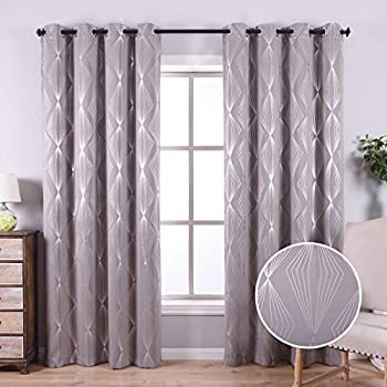 Anjee Grey Blackout Curtains 84 Inch Long for Bedroom with Geometric Pattern, Blackout Window Drapes with Grommet Top for Light Blocking and Noise Reducing, 52 x 84 Inches
