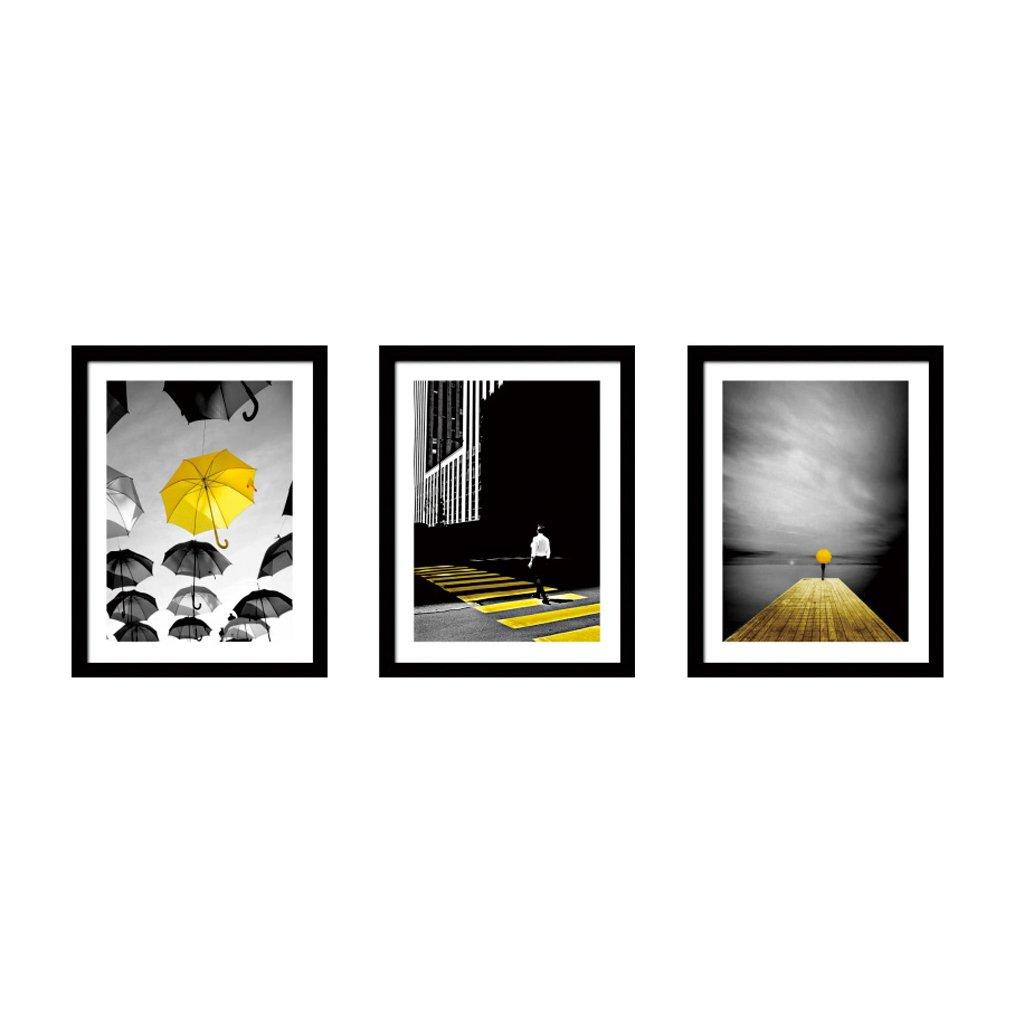 3 Frame Black And White Photo Frame Wood Color Triple Living Room Sofa Restaurant 16 Inch 33 44cm ( Color : Black )