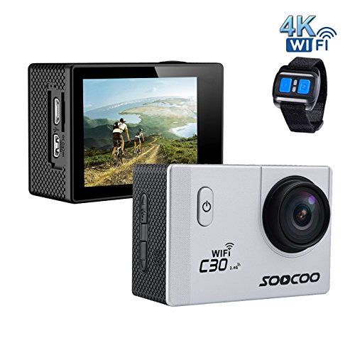 4k WIFI Sports Action Camera,SOOCOO C30R Action Camera Waterproof 20MP 170 Degree Wide Angle Sports Video Camera 2 inch LCD Screen/2.4G Remote Control/2 Batteries-Silver(Micro SD Card Not Included)