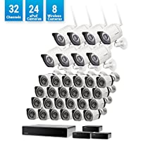 Zmodo 32 Channel Network NVR Security System 24 sPoE +8 Wireless WiFi Outdoor IP HD Camera, Customizable Motion Detection, w/ sPoE Repeater for Flexible Extension