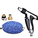 Telescopic water pipe Household car wash tools Scalable Non-slip handle 3 times TPE hose Spray gun Suitable for car washing watering Adjustable Water flower Aluminum alloy , 2200cm