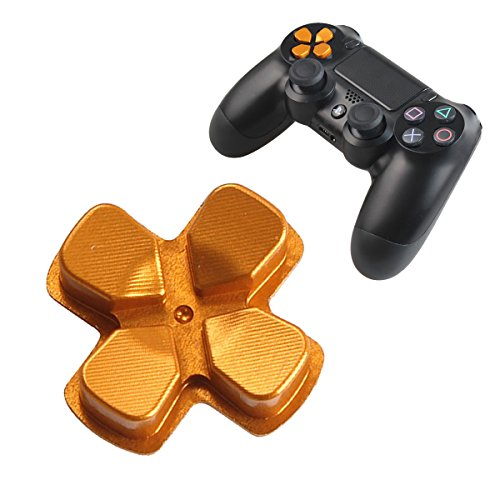 Chrome D-pad Bullet Buttons Aluminum Custom Metal Playstation 4 DualShock 4 Replacement Buttons Spare Parts Accessories for PS4 Mods Controllers Bullet Golden