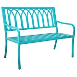 Innova Hearth and Home Lakeside Steel Bench in Soho Blue For Sale