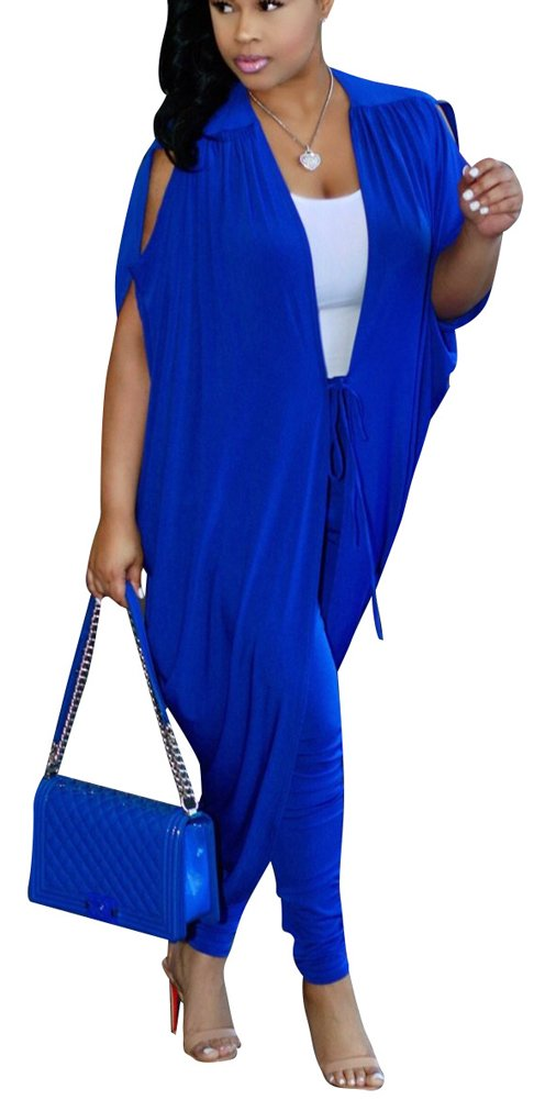 Womens Batwing Sleeve Jacket Open Front Cardigan + Pants 2 Piece Outfit Blue L