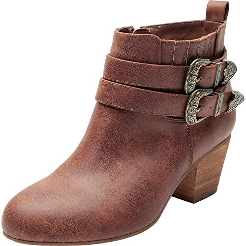 Luoika Women's Wide Width Ankle Boots - Side Zipper Metal Flower Buckle Strap Mid Chunky Block Heel Booties. (180623,Brown,9WW)]()