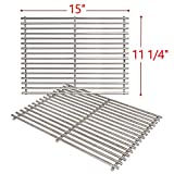 SHINESTAR Stainless Steel Grill Grates for Weber Spirit 200 Series Spirit E210, Genesis Silver A, Spirit 500, Grill Replacement Parts Cooking Grids(15 x11-1/4 Each, Set of 2)-Replace Weber 7521/7522