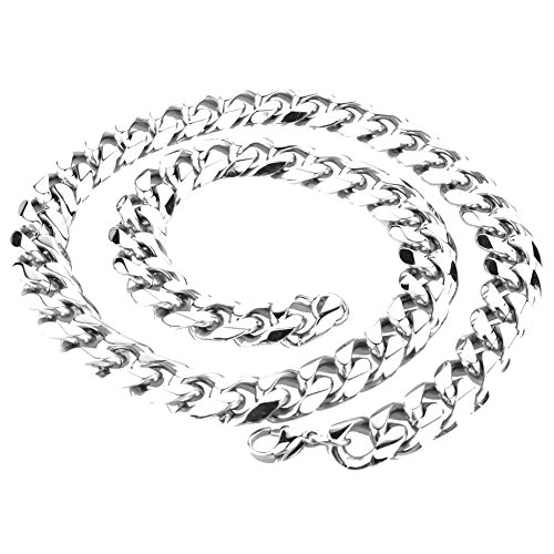 20mm Curb Chain Necklace - Mens Stainless Steel Silver Tone 7-40 inch 15MM Heavy Cuban Curb Link Chain Necklace Bracelet