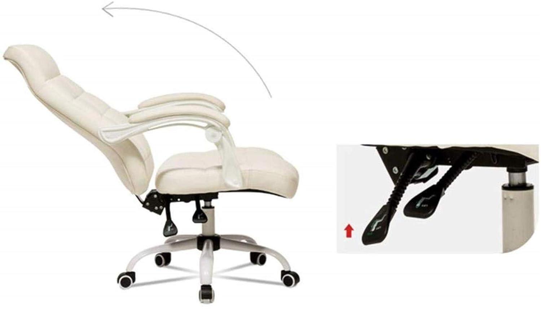 Barstolar Xiuyun hem kontor skrivbord stol hem dator stol skrivbord stol pläd design flera vinklar liggande länkning armstöd bärvikt 200 kg (färg: vit) Svart