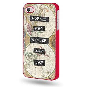 Shawnex Vintage Map Not All Who Wander Are Lost Red Plastic iPhone 4 & 4S Case - Fits iPhone 4 & 4S