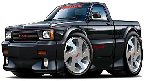 """12"""" GMC Syclone Truck WALL DECAL Cartoon Car 3D Sticker Mural Kids Room Sports Den Man Cave Boys"""